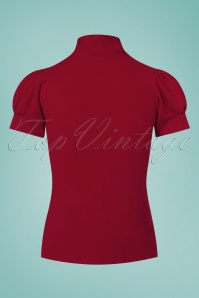 Vintage Chic Scuba Crepe Puff Sleeve Top in Red 110 20 26394 20170719 0007W