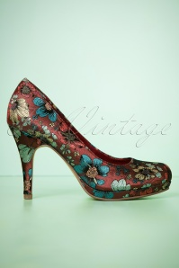 50s Floral Explosion Pumps in Burgundy