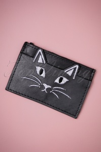 50s Naya The Cat Leather Cardholder in Black