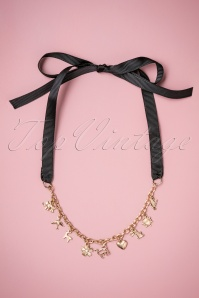 50s Willow Tie Up Charm Necklace in Gold