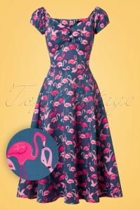 Collectif Clothing Dolores Flamingo Flock Doll Dress 102 39 26572 20180706 0005W1