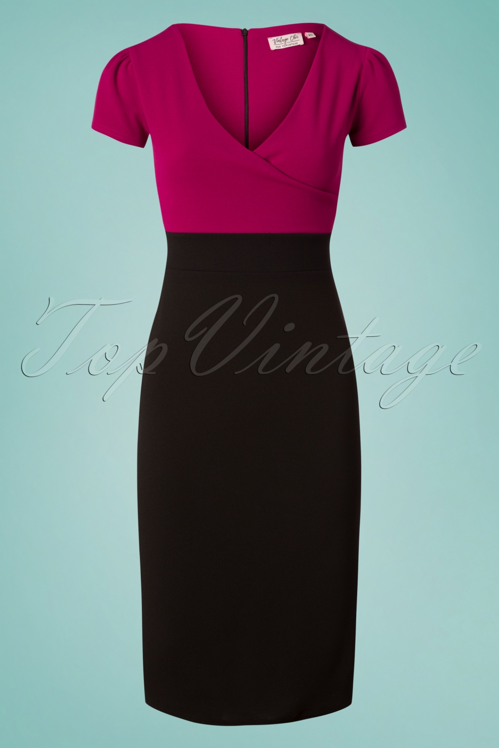 What Did Women Wear in the 1950s? 1950s Fashion Guide 50s Kristy Pencil Dress in Black and Amaranth £39.78 AT vintagedancer.com