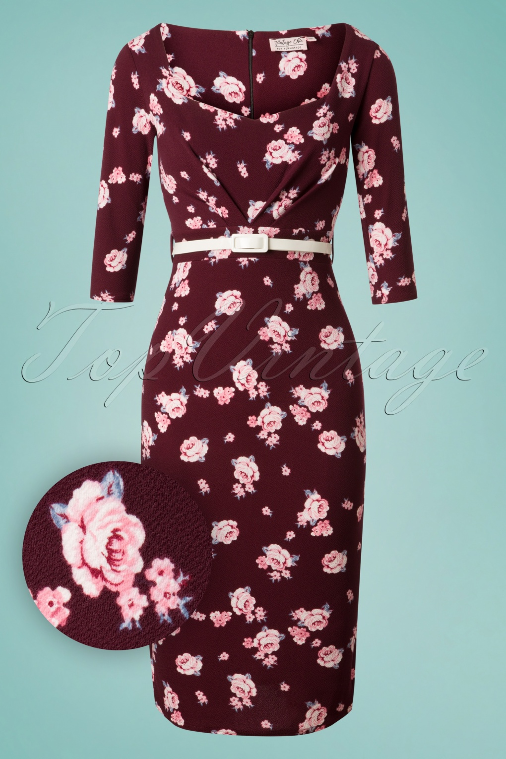 What Did Women Wear in the 1950s? 1950s Fashion Guide 50s Ruby Floral Pencil Dress in Wine £51.28 AT vintagedancer.com