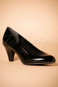 40s Beverly Patent Pumps in Black