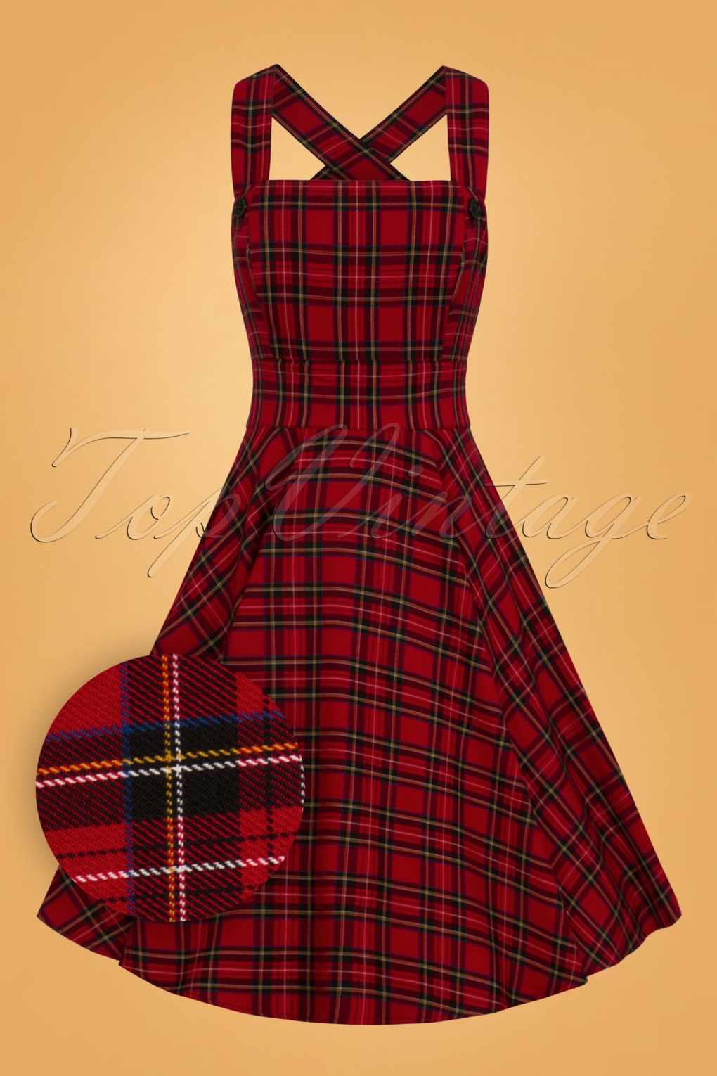 Retro Skirts: Vintage, Pencil, Circle, & Plus Sizes 40s Peebles Pinafore Tartan Dress in Red £51.28 AT vintagedancer.com