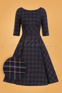 50s Peebles Tartan Swing Dress in Navy