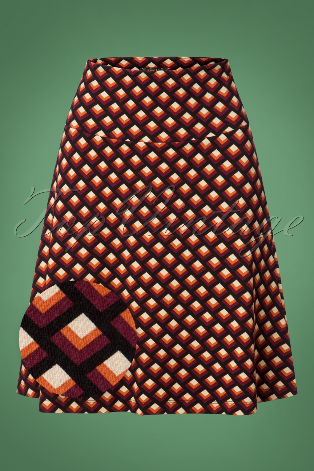Retro Skirts: Vintage, Pencil, Circle, & Plus Sizes 60s Oddity Borderskirt in True Red £53.05 AT vintagedancer.com
