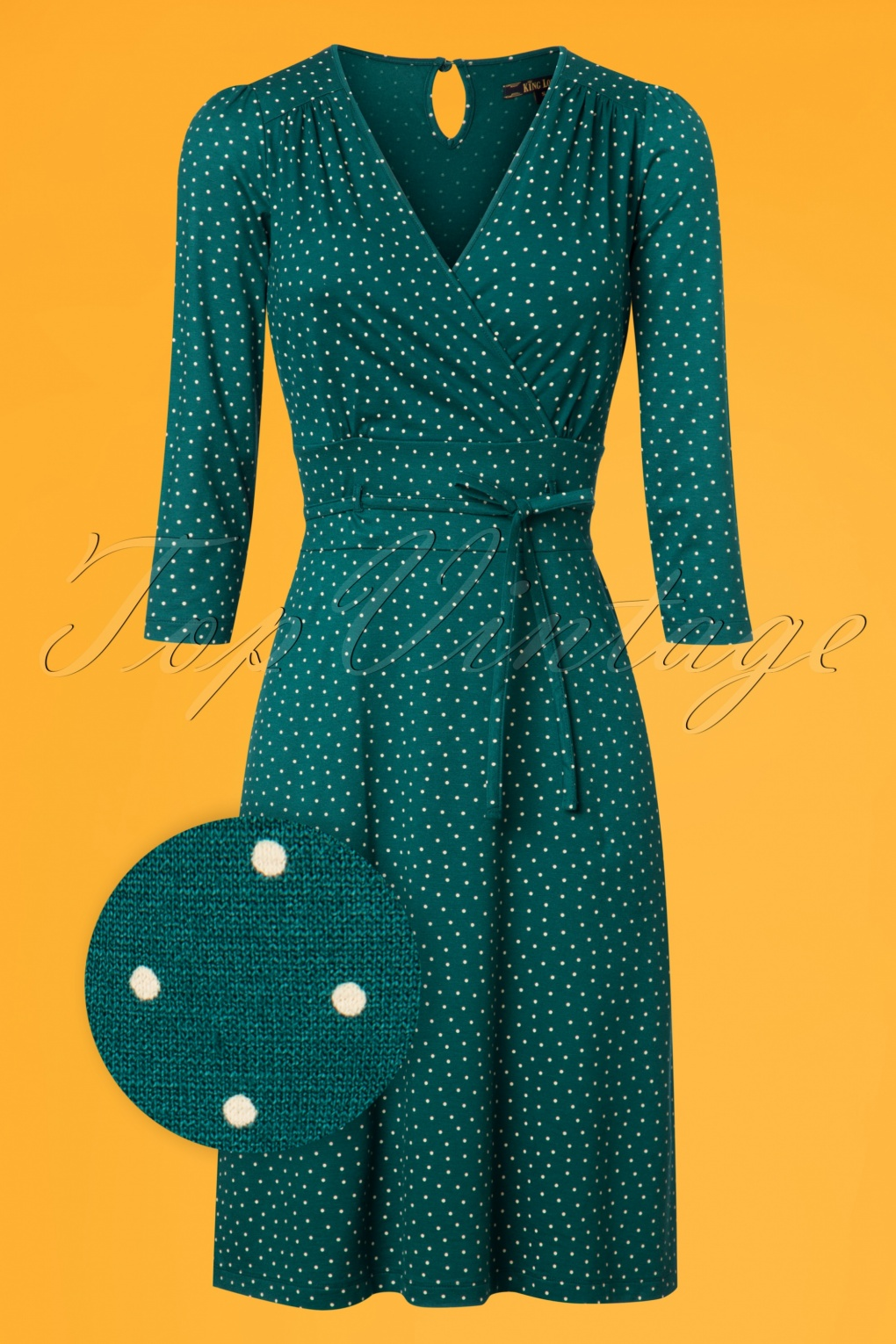1960s Dresses – A Rainbow of 50 Dresses (Pictures) 60s Cecil Little Dots Dress in Dragonfly Green £88.44 AT vintagedancer.com