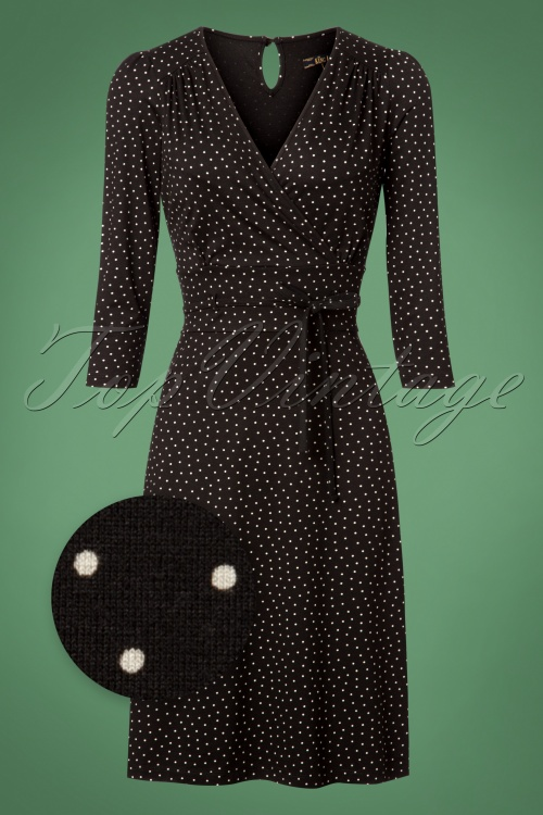 King Louie 60s Cecil Black Polkadot Dress 100 14 25267 20180622 0002wv