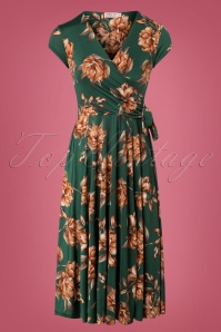 50s Layla Floral Cross Over Dress in Forest Green