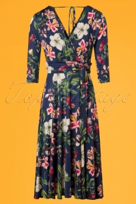 Vintage Chic Navy Waterfall Floral Dress 102 39 26442 01W