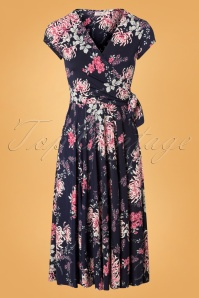 50s Layla Floral Cross Over Dress in Navy and Pink