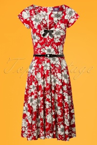 50s Flower Bow Swing Dress in Red and White