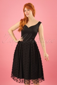 50s Princess Liz Rose Swing Dress in Black