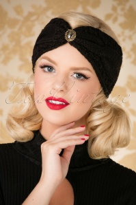 50s Celia Glam Head Band in Black