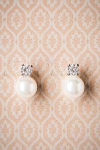 Graziana Pearl Earrings Années 50 en Blanc