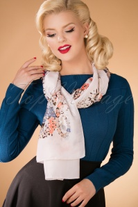 50s Take Me To Marbella Scarf in Beige