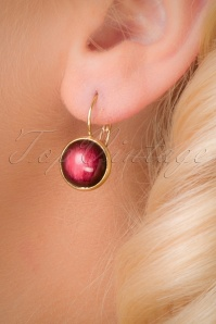 Brushed Dots Gold Plated Earrings Années 70 en Rouge