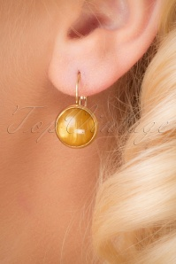70s Spicy Mustard Gold Plated Earrings in Yellow