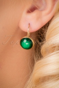 70s Brushed Dots Gold Plated Earrings in Green
