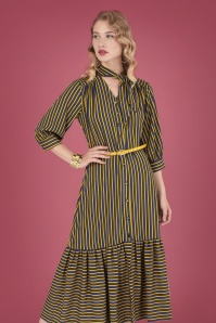 Closet Navy Mustard Stripes Dress 108 89 26611 20180717 00011