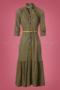 Closet Navy Mustard Stripes Dress 108 89 26611 20180717 0004w