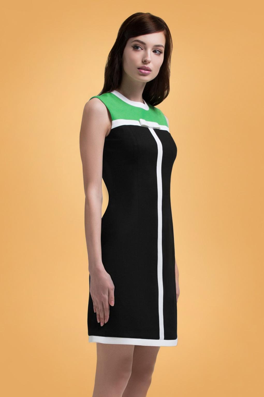 500 Vintage Style Dresses for Sale 60s Renae A-Line Dress in Black and Green £115.43 AT vintagedancer.com