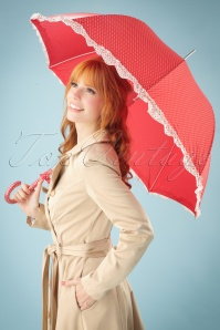 50s Eloise Dotted Umbrella in Red