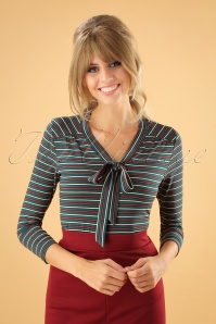 60s Goldie Blackjack Stripe Bow Top in Dragonfly Green