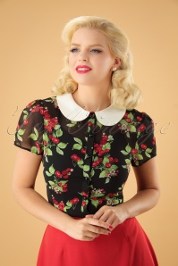 50s Cherie Blouse in Black