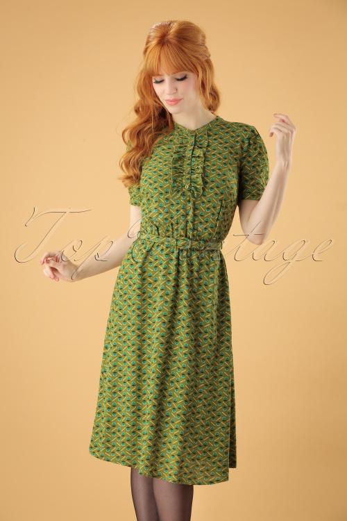 Gaya 60s In Green Posey Dress Caramba Yby7gf6