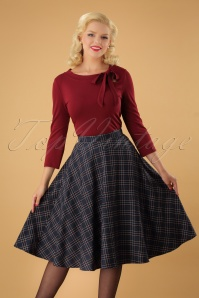 50s Peebles Tartan Swing Skirt in Navy