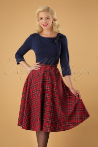 50s Irvine Tartan Swing Skirt in Red