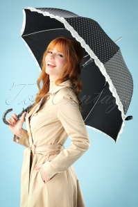 50s Molly Hearts Umbrella in Black