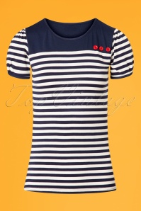 50s Little Rebel T-shirt in Navy and White