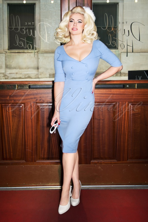 Glamour Bunny Faith Shirt Pencil Dress in Light Blue 25737 20180621 0013W