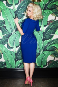 Glamour Bunny Faith Shirt Pencil Dress in Blue 25738 20180621 0017W
