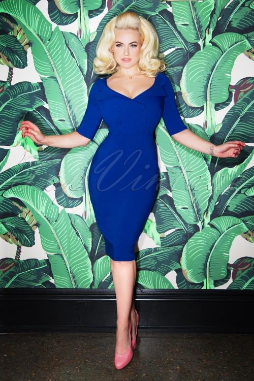 Glamour Bunny Faith Shirt Pencil Dress in Blue 25738 20180621 0016W