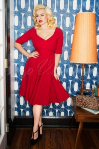 50s Faith Swing Dress in Red