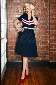 Glamour Bunny June swing Dress Années 60 en Bleu Marine