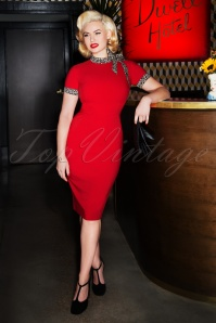 50s Lucy Pencil Dress in Red