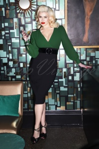 Glamour Bunny 60s Margot Pencil Dress in Green and Black
