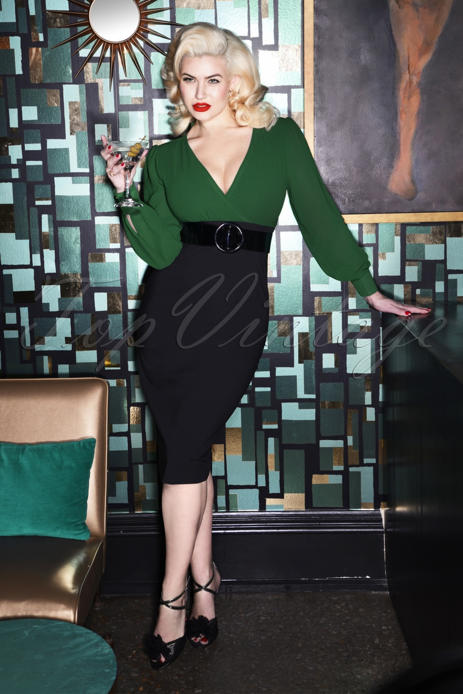 Wiggle Dresses | Pencil Dresses 60s Margot Pencil Dress in Green and Black £116.05 AT vintagedancer.com