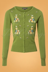 King Louie Cardigan Roundneck Bouquet in Green 25238 20180719 0002W