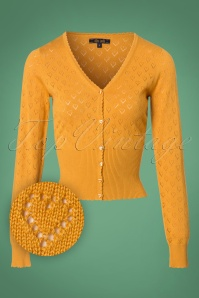 King Louie Cardigan V Heart Ajour in Honey 25262 20180719 0001W1