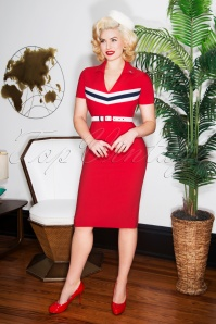 60s June Pencil Dress in Red