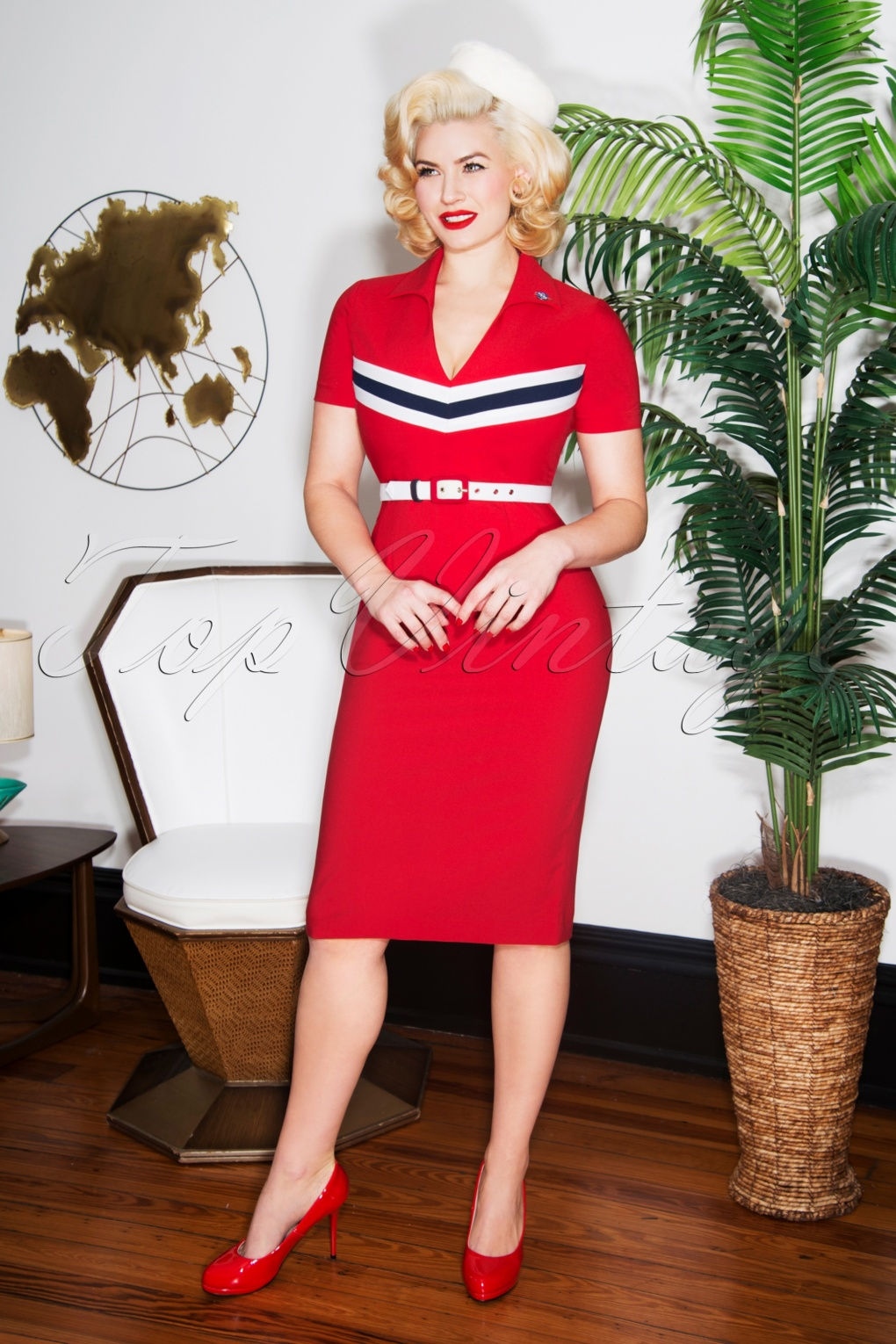 1960s Style Dresses, Clothing, Shoes UK 60s June Pencil Dress in Red £57.38 AT vintagedancer.com