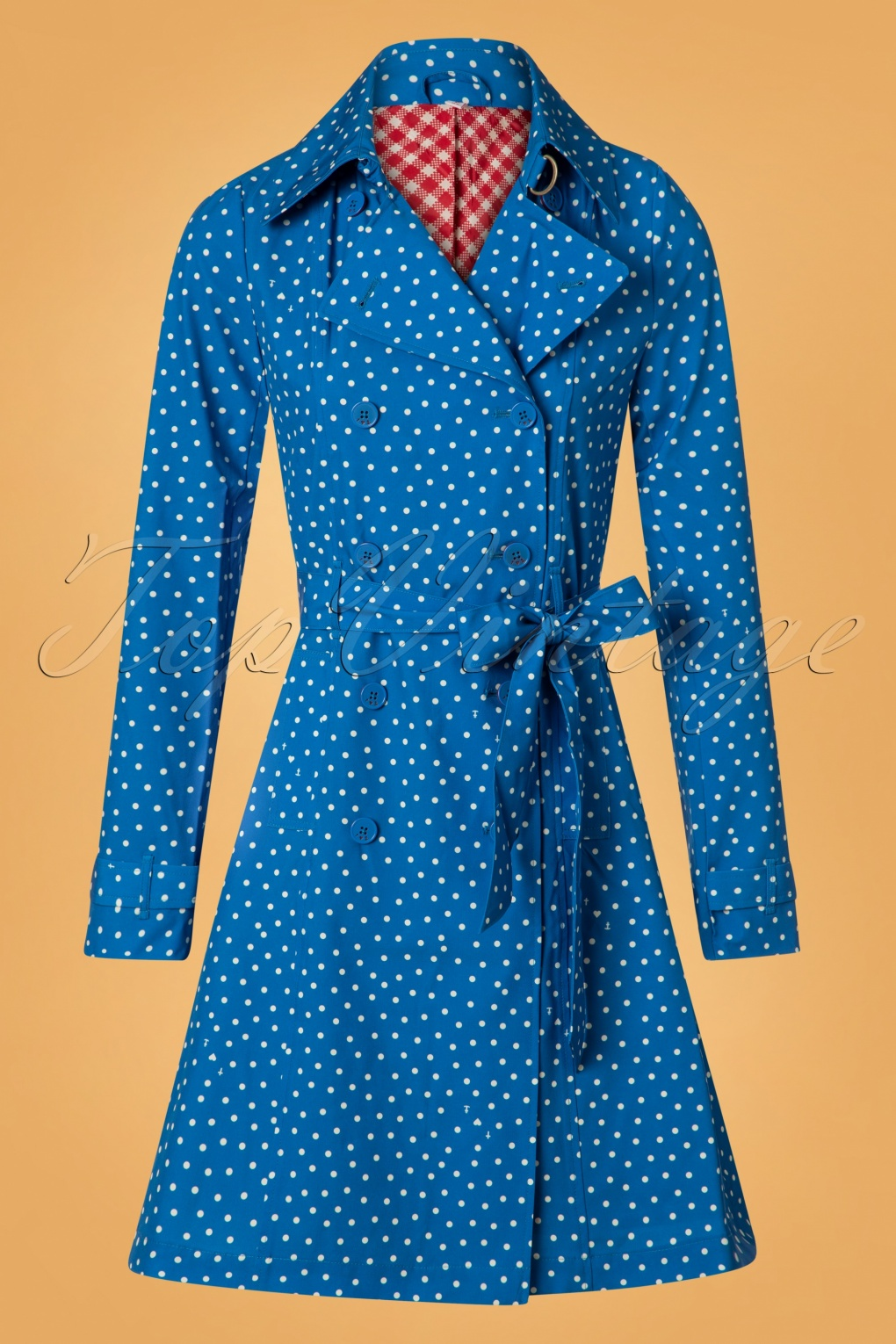 Vintage Coats & Jackets | Retro Coats and Jackets 60s Casablanca Souvenir Trench Coat in Dot and Anchor Blue £142.84 AT vintagedancer.com