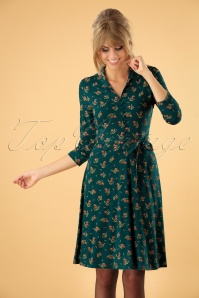 70s Emmy Annadale Dress in Dragonfly Green