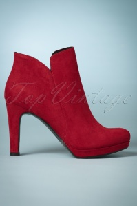 50s Classy Suedine Ankle Booties in Lipstick Red